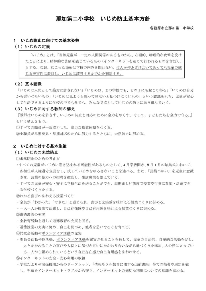 Microsoft Word – 那加二小 教員用 いじめ防止基本方針H30のサムネイル