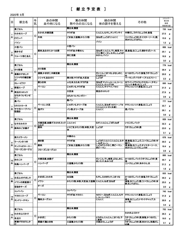 2020 9月緑陽中材料表のサムネイル
